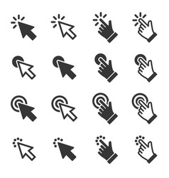 mouse click cursor arrow and hand icons set vector image