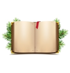 Open book with blank pages and red bookmark Green vector image vector image