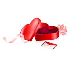 Red box in heart shape vector