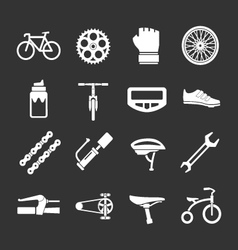 Set icons of bicycle biking and bike parts vector image vector image