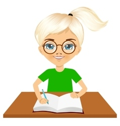 cute little caucasian student girl writing vector image