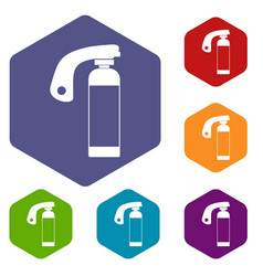 Fire extinguisher icons set hexagon vector