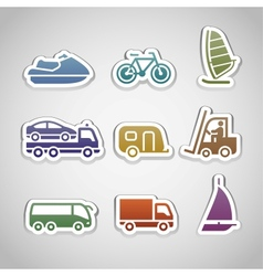 flat retro color stickers - set eight vector image vector image