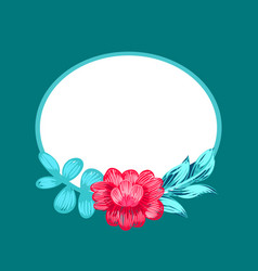 flower and oval shaped frame vector image