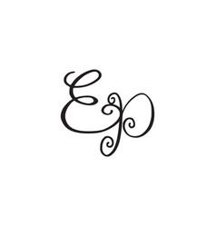 Handwritten monogram ep icon vector