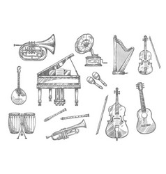 musical instrument sketch of classic jazz music vector image vector image