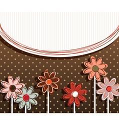 Paper flowers on polka dot background vector