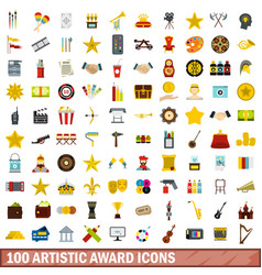 100 artistic award icons set flat style vector