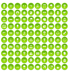 100 aviation icons set green circle vector