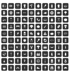 100 barbecue icons set black vector