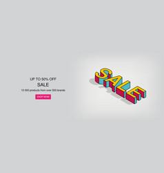 3d isometric pop art sale text vector