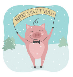 a cute pig and merry christmas text vector image