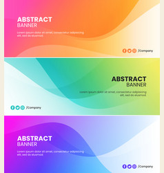 Abstract colored waves banner background templates vector