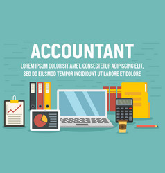 Accountant concept banner flat style vector