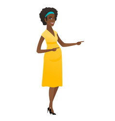 african pregnant woman pointing to the side vector image