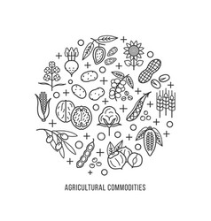 Agricultural commodities concept background vector