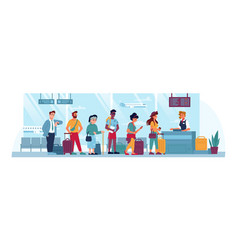 airport queue counter check people with tickets vector image