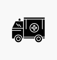 ambulance truck medical help van glyph icon vector image