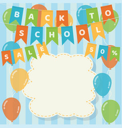 back to school hanging flags and balloons vector image