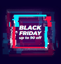 big sale banner with glitch effect vector image