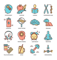Biohacking icons set in colored line style vector