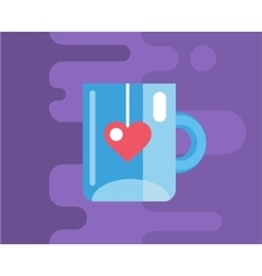 Blue cup icon Tea object or drink and vector