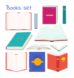 books collection in different positions and colors vector image