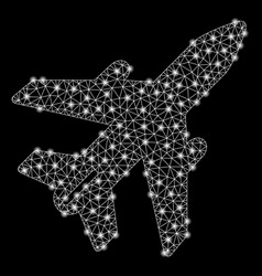 bright mesh carcass airplane with light spots vector image