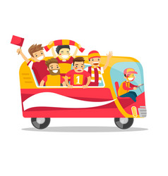 Bus full of cheerful football players or fans vector