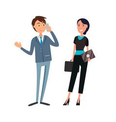 business partners man woman in flat design cartoon vector image