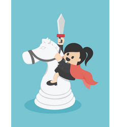 Business woman riding a chess white horse vector