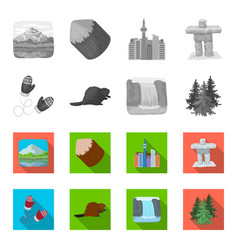 Canadian fir beaver and other symbols of canada vector