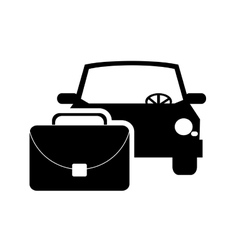 car and suitcase icon vector image