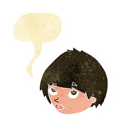 Cartoon female face looking up with speech bubble vector