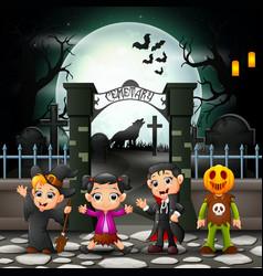 Cartoon happy kids with halloween costume vector