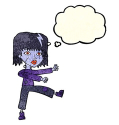 Cartoon undead girl with thought bubble vector