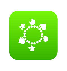 charm bracelet icon green vector image