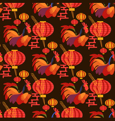 chinese new year rooster pattern vector image