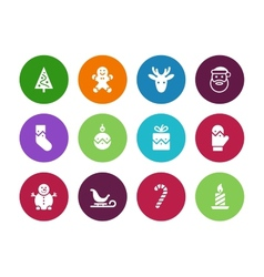 Christmas circle icons on white background vector image