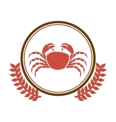 Circular border with crown branch with crab vector
