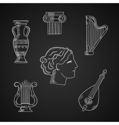 Classic art and musical instruments icons vector
