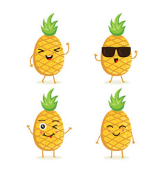 Collection pineapple characters vector