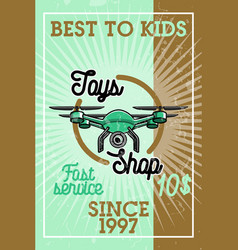 Color vintage toys shop banner vector