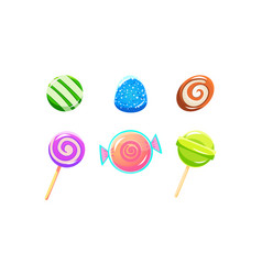 colorful glossy candies and lollipops set sweets vector image