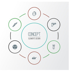 combat outline icons set collection of weapon vector image