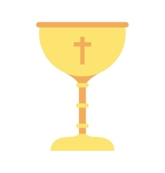cup gold chalice first communion icon vector image