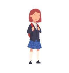 Cute schoolgirl in uniform standing with backpack vector