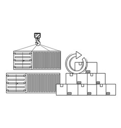 delivery and transport elements in black and white vector image