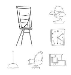design of furniture and work symbol set of vector image