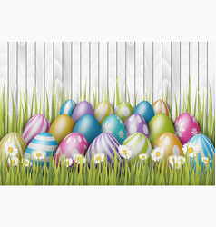 Easter background with painted 3d realistic eggs vector